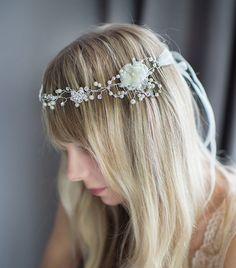 Boho Silver Halo Hair Wrap, Silver Blush Champagne Flower Hair Wreath, Forehead band, Wire Floral Wire Hair Vine, Boho Headpiece - 'MIRA'