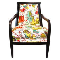 Seat and inside back re-upholstered in floral printed cotton. Outside back upholstered in striped citrine/natural cotton fabric. Floral Upholstery Fabric, Cotton Fabric, Wood Arm Chair, How To Antique Wood, Cool Chairs, Color Inspiration, Flower Power, Accent Chairs, Armchair