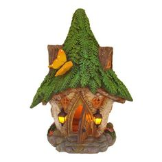 Fairy House MYSTICAL RED WOODLAND TREE HOUSE Minature  Ornament LED Lights 12cm