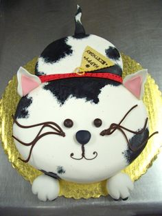 Kid's Cake Cat by stringy-cow.devia… on Kid's Cake Cat von stringy-cow. Pretty Cakes, Cute Cakes, Fete Marie, Birthday Cake For Cat, Gold Birthday, Animal Cakes, Gateaux Cake, Novelty Cakes, Occasion Cakes