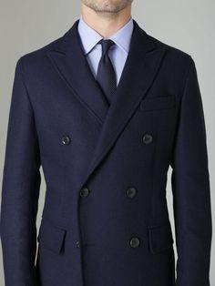 Wool Double Breasted Coat by Luigi Bianchi Mantova at Gilt