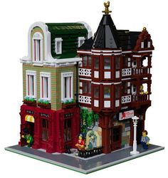 LEGO Hats Shop & Old Inn - building instructions and parts list. Lego Modular, Lego Design, Minecraft, Lego Moc, Casa Lego, Shop Lego, Lego Builder, Lego Castle, Cool Lego Creations