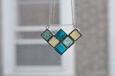 geometric stained glass necklace by ABJglassworks