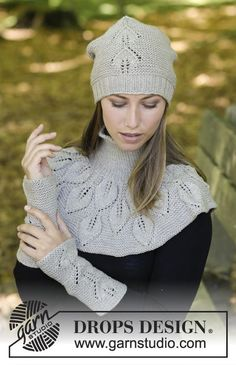 Silver Leaf / DROPS - Free Knitting Patterns by DROPS Design : The set includes: knitted hat, collar scarf and wrist warmers with leaf pattern and ruffle ribs. The set is knitted in DROPS Merino Extra Fine. Free instructions from DROPS Design. Knitting Designs, Knitting Stitches, Knitting Patterns Free, Knit Patterns, Free Knitting, Free Pattern, Drops Design, Magazine Drops, Knit Crochet