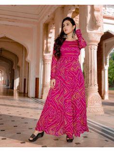 Pink Anarkali with Boat Neckline. Designer Anarkali Dresses, Designer Dresses, Gown Pattern, Dress Patterns, Bandhini Dress, Dress Indian Style, Indian Long Dress, Saree Gown, Churidar Designs