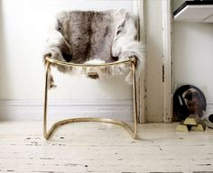 brass chair with fur.we have some similar sled chairs in store now. Just need the fur! Interior Inspiration, Room Inspiration, Design Inspiration, Deco Boheme, Cute Dorm Rooms, Blog Deco, Ship Lap Walls, Take A Seat, Home Interior