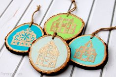 Wooden Folk House Ornaments - I love the 3D look of these!