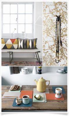 Love this colour palette! Color Inspiration, Interior Inspiration, Mid Century Modern Colors, Retro Color, Home And Living, Mid-century Modern, Sweet Home, Shelves, Colours
