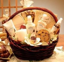 how to make a spa-themed gift basket - use lots of clear cellophane to lift items up!