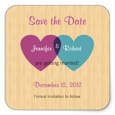 Purple and Blue Hearts Save the Date Square Stickers