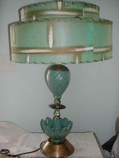 $105 Vintage Retro Mid Century Eames Era Aqua    Two Tier Fiberglass Drum Lamp Shade