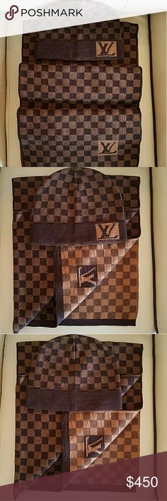 Unisex Louis Vuitton Damier Scarf & beanie Set Authentic Ladies Louis Vuitton Damier Colors: Brown/ tan Fabrics:100% Wool Size: One size Made in Italy Knitted Damier pattern two tone design Brand: Louis Vuitton Retails at $715 New condition Comes with Scarf and Beanie Only, No Box Louis Vuitton Accessories Scarves
