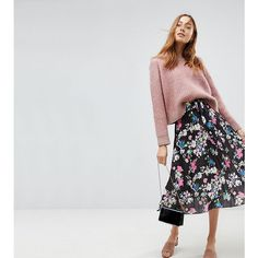 ASOS TALL Pleated Midi Skirt with Belt in Print (€37) ❤ liked on Polyvore featuring skirts, multi, high waisted skirts, midi skirt, floral midi skirt, pleated midi skirt and print midi skirt
