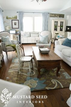 Family Room Reveal via @Melissa Henson Mustard Seed..see how her room flows from her kitchen to family room