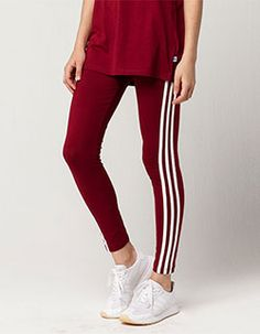 ADIDAS 3 Stripes Womens Leggings Burgundy