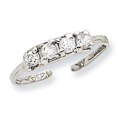 14k White Gold CZ Toe Ring K1532