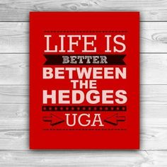 Life is Better Between the Hedges - University of Georgia - Graphic Print - Wall Art Georgia Girls, Georgia On My Mind, Best Football Team, Football Season, Football Signs, Football Football, College Football, Georgia Bulldogs Football, University Of Georgia