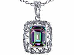 Star K Emerald Cut Rainbow Mystic Topaz Pendant Necklace