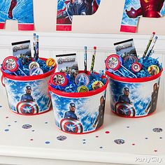 Avengers Party Ideas: *favors for good behavior at the party* Everyone's a winner with a bucket full of Avenger goodies! Let your guests continue the adventure even after the party is over with an Avengers Favor Container! Just fill the bucket with special Avengers treats and your Iron Men and Incredible Hulks are sure to go home happy.