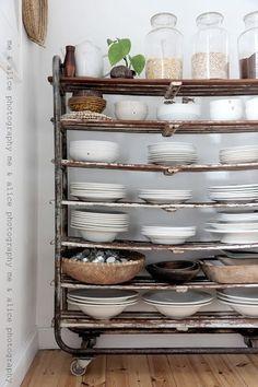 Vintage rolling rack storage