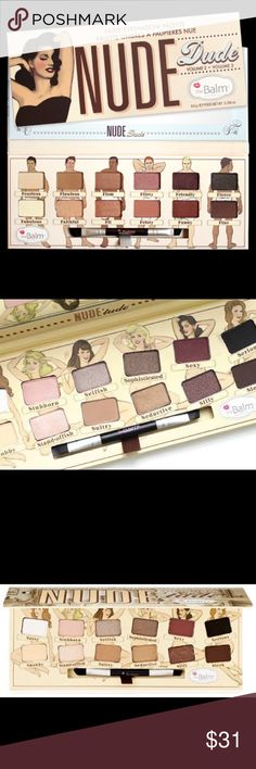 """NUDE 'tude® Nude Eyeshadow Palette This amazing palette consists of 12 beautiful shadows that make wearing nudes sexy! These satiny smooth colors can be applied naturally, i.e. """"let me slip into something more comfortable"""" or beautifully layered. The wide range gives you light highlighters as well as brazen bold shades that work to add definition and emphasis to your lids. Nude`tude allows you to dramatically dress up your eyes—if nothing else! the balm cosmetics Makeup Eyeshadow"""