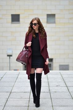 Burgundy Medicine Coat, LBD, Burgundy Givenchy Bag, Stuart Weitzman Boots Burgundy On Burgundy On Black Winter Street Style Vogue Haus Winter Fashion Outfits, Look Fashion, Autumn Winter Fashion, Winter Outfits, Womens Fashion, Fashion Trends, Cheap Fashion, Burgundy Outfit, Burgundy Fashion