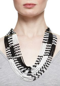 nOir Alternating Seed Bead Statement  Necklace