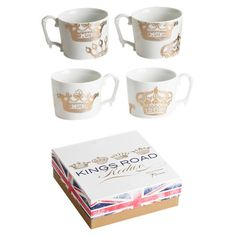 Lend a regal touch to your tablescape with this lovely mug, showcasing a gold crown motif.  Product: Set of 4 mugsCo...