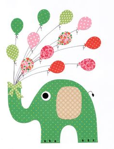 Green Pink Elephant with balloons Nursery Artwork Print Baby Room Decoration Kids Room Decoration Gifts 20 print wall art sail away with me on Etsy, $14.00