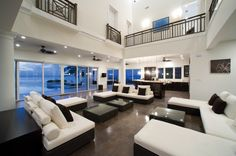 The Sun Salutations house in Gran Cayman. Love the black and white decor!