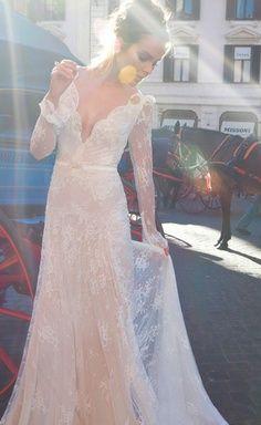 Inbal Dror Wedding Dresses - this is my dream wedding gown Long Sleeve Bridal Dresses, 2015 Wedding Dresses, Bridal Gowns, Wedding Gowns, Vintage Lace Weddings, Dress Vestidos, The Dress, Dress Lace, Dress Prom