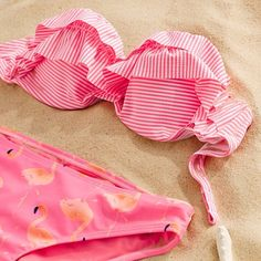 aeriereal:  Suit up…pretty in pink! #Stripes #Flamingos #Summer #AerieSWIM #AerieREAL ☀️