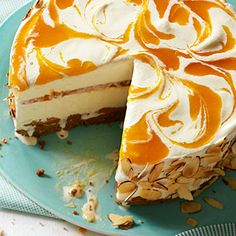 Apricot Almond Swirl Ice Cream Pie  This treat celebrates one of our favorite summer fruits. A cheesecake pan was used to make this pie, but you can use a 9-in. pie pan and sprinkle the almonds on top.