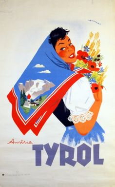 Tyrol, Austria vintage travel poster- Franz Lenhart c.1950