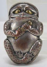 Antique Japanese Mixed Metal Figural Frog Toad Form Match Safe Holder Vesta yqz