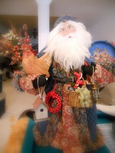 Hi Friends, So nice of you to join me for a little tour of my home at Christmas. I have so much fun playing with my Father Christmases, bo. Christmas Scenes, Christmas Home, Vintage Christmas, Christmas Crafts, Christmas Ideas, Original Santa Claus, Black And White Coat, Tapestry Fabric, Old Fashioned Christmas