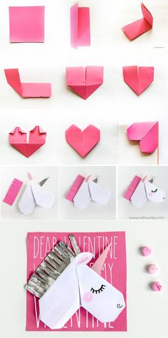 Unicorn Valentine's Day Cards and Unicorn Bookmarks - Cute ideas - Origami Unicorn Diys, Unicorn Crafts, Diy Origami, Oragami, Valentine Day Cards, Valentines Diy, Unicorn Valentine Cards, Diy For Kids, Crafts For Kids