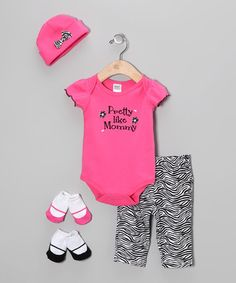 Loving this Hot Pink 'Pretty Like Mommy' Five-Piece Layette Set - Infant on #zulily! #zulilyfinds