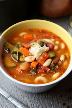 Dig in to this Hearty Tuscan Soup! Made with fire roasted tomatoes, this Italian vegetable soup is a little smoky and sweet. It only takes 10 mins to prep! Easy Asian Recipes, Easy Soup Recipes, Vegetarian Recipes, Cooking Recipes, Healthy Recipes, Ethnic Recipes, Top Recipes, Clean Recipes, Gourmet Recipes