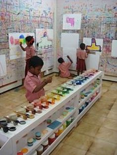 Inspiring school spaces from around the world – in pictures From a diner to a double-decker library bus, we look at some quirky and unusual school evironments to help inspire your entry to Daycare Design, Classroom Design, School Design, Preschool Classroom, Preschool Art, Art Classroom, Kids Cafe, Kindergarten Design, India School