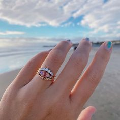 One of a kind engagement rings Ring Crafts, Right Hand Rings, Beautiful Engagement Rings, Green Tourmaline, Pink Sapphire, Pink Dress, Pretty In Pink, Fine Jewelry, Diamond