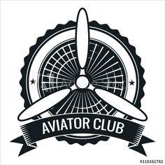 Airplane propeller emblem. Aviators club logo