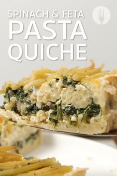 The FANCIEST Spinach & Feta Pasta Quiche you'll ever make 😱😍😋👇 Pasta Pie, Feta Pasta, Bacon Pasta, Easy Snacks, Easy Healthy Recipes, Easy Meals, Bacon Quiche, Spinach And Feta, Food Hacks