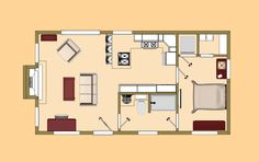The floor plan of our 480 sq ft Shoe Box.
