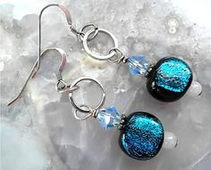 Dichroic Glass Earrings/ Lampwork by DarlenesGlassGarden on Etsy, $18.00