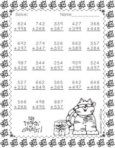 Christmas Themed Addition with Regrouping - Modern Design Math Worksheets, Teaching Resources, Math Centers, Math Stations, Math Sheets, Elementary Math, Math Lessons, In Kindergarten, Third Grade