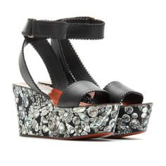 JEWEL PRINTED LEATHER PLATFORMS seen @ www.mytheresa.com