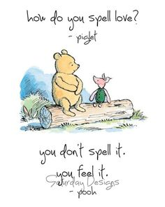 How Do You Spell Love quote from Winnie the Pooh - digital download, printable art
