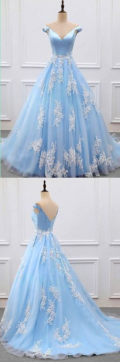 Sky Blue Appliques Charming 2018 Prom Dresses,Prom Dresses,Formal Women Dress,prom dress