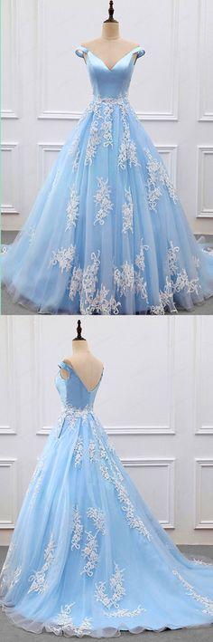 Sky Blue Appliques Charming 2018 Prom Dresses,Prom Dresses,Formal Women Dress,prom dress